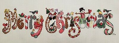 £21.63 • Buy Handmade Finished Cross Stitch - Merry Christmas, With Gold Charms, Unframed