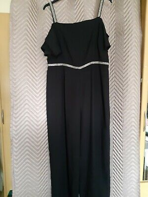 £3.99 • Buy Ladies Black With Silver Straps & Waist Detail Jumpsuit Size 18 New With Tags