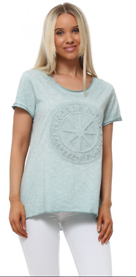 £10 • Buy MADE IN ITALY Green Acid Wash Embossed Star T-Shirt RRP £22 BNWT O/S