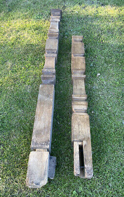 £15 • Buy Two Unusual Antique Edwardian/late Victorian Solid Oak Stair Newel Posts