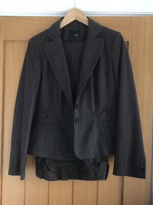 £25 • Buy Next Woman Brown Striped Suit - Lined Jacket & Wide Lined Trousers Size 14R
