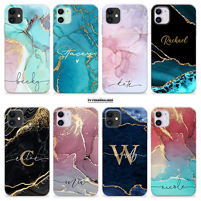 £1.99 • Buy Personalised Phone Case Initials Name Marble Silicone Cover For Iphone 12 11 Se