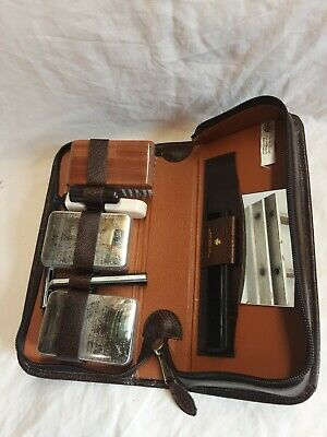 £12.99 • Buy Vintage Retro Mens Travel Toiletry Shaving Set In Brown Zipped Case Leather