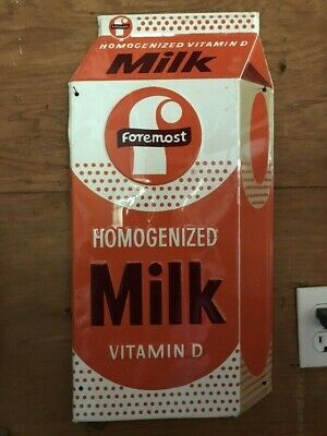 $175 • Buy Vintage Rare Embossed Near Mint Foremost Dairy Original Milk Sign  22  X 11