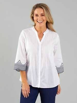 AU30 • Buy Ladies Top/Blouse  Black Pepper  White With Navy Size 20(18-20) BNWT