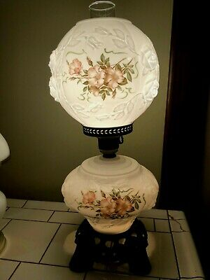 $111.99 • Buy VINTAGE  Gone W/the Wind  Milk Glass Hurricane Parlor Lamp W/ Pink Flowers