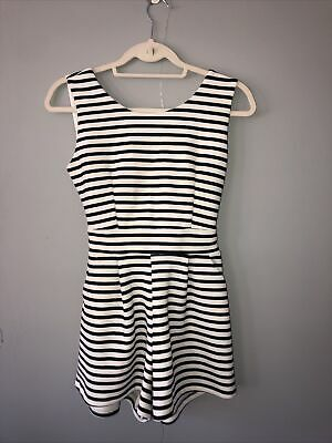 £0.99 • Buy Wal G Black & White Small Striped Playsuit Open Back Tie Waist Scoop Neck Womens