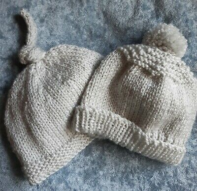 £3.99 • Buy  Hand Knitted Pom Pom Top Knot Baby Hats Grey 0 - 3 Months.