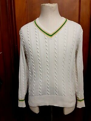 $15 • Buy VTG ST. CROIX Tennis Sweater Medium Cable Knit Ivory Cricket