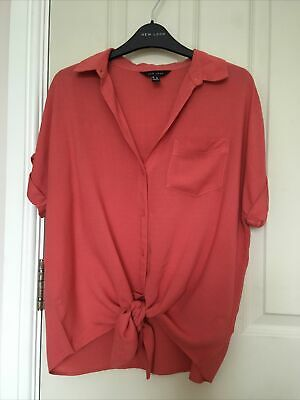 £2.49 • Buy New Look Pink Tie Front Blouse Shirt Top Size 8