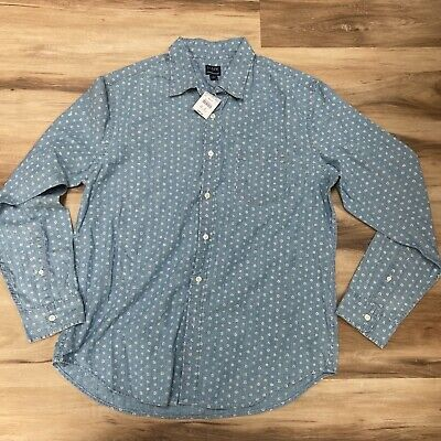 $33.95 • Buy J Crew Chambray Floral Print Blue Button Down Shirt Mens Large Long Sleeve