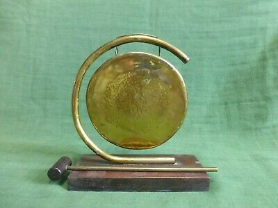 £14.99 • Buy Vintage Dinner Gong Brass On Wooden Base With Hammer