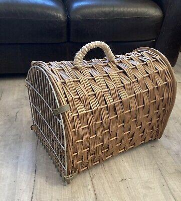 £12 • Buy VIntage Natural WICKER Cat/Small Dog Large PET CARRIER BASKET With Front Grid