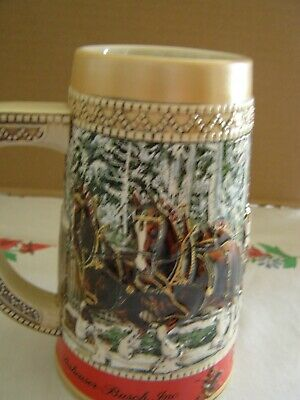 $ CDN18.73 • Buy 1987 Vintage Budweiser Holiday Christmas Beer Stein Clydesdale Collectible Mug