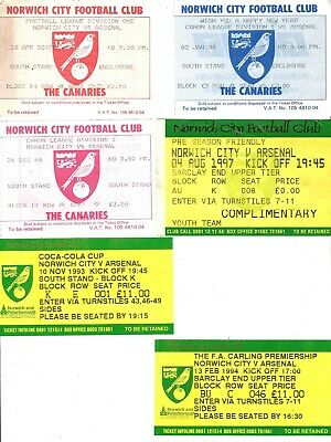 £3 • Buy NORWICH CITY V ARSENAL Six Ticket Stubs 82-3 To 97-8 League, Cup & Friendly