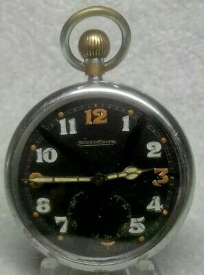 £168 • Buy WW2 BRITISH ARMY Jeager-LeCoultre 467 Black Dial Pocket Watch Fully Serviced GWO
