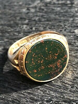 £550 • Buy Very Fine 1866 Antique Victorian Bloodstone Signet Ring In 15ct Yellow Gold - 💙