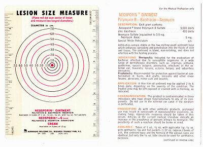 £3.91 • Buy Burroughs Wellcome 1971 Lesion Size Measurement Promoting Neosporin