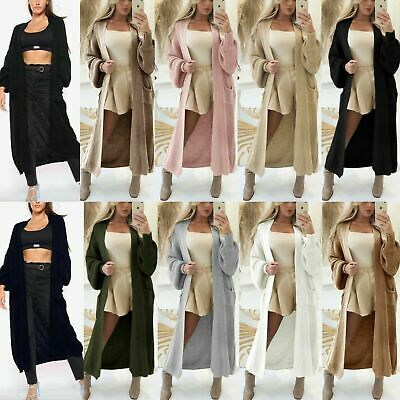 £17.90 • Buy Women's Chunky Knitted Balloon Sleeve Oversized Ladies Long Jumper Maxi Cardigan