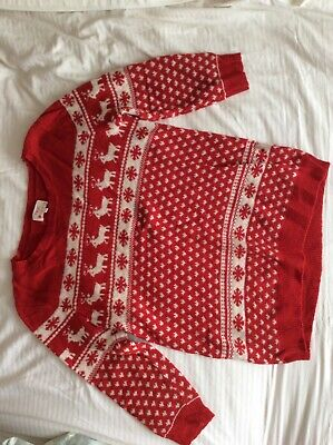 £4.50 • Buy Next Christmas Jumper Size 14, Pre-loved, Red With White Pattern And Buttons