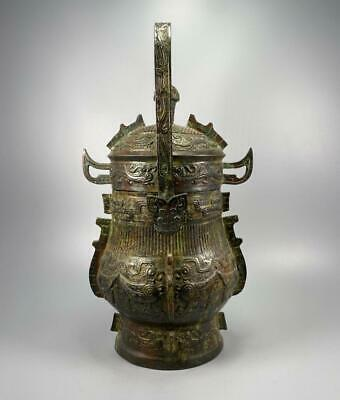 £361.73 • Buy Old Antique Chinese Bronze Tiliang Vase Pot With Lid 40cm (k1220)