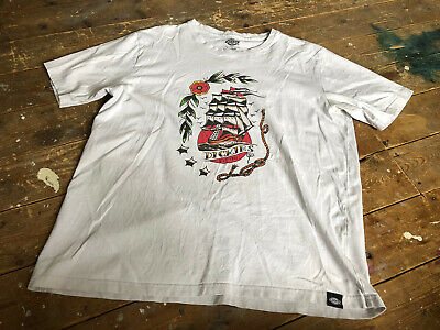 £1.50 • Buy Off White Pirate Ship DICKIES T-Shirt XL Hipster Skater Surfer Punk Rockabilly