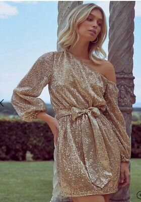 AU147.30 • Buy Forever New Gold Sequin Long Sleeved Dress Size 12 RRP $170