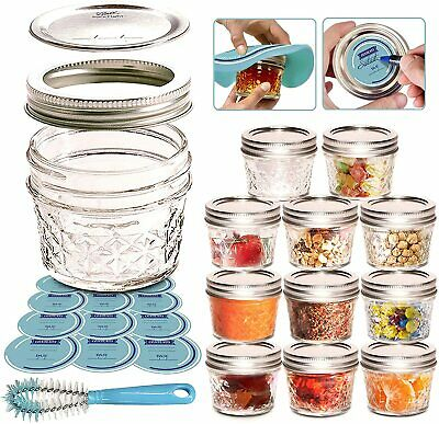 $29.70 • Buy Canning Jars Mason Jars 4oz Jelly Jars 12 Pack With 12 Extra Regular Lids And...