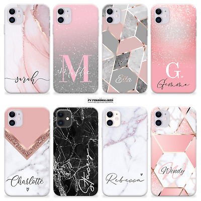 AU11.31 • Buy Personalised Marble Phone Case Name Rose Gold Silicone Cover Iphone 12 Se 11 Xr