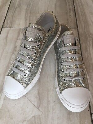 £16.99 • Buy VGC Converse All Star Sequin Ladies Trainers UK4/EU37.Barely Worn ,Silver