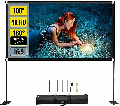 AU125.99 • Buy VEVOR 100  Projector Screen Stand Portable Outdoor Movie Screen HD 4K Projection