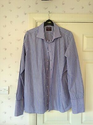 """£10 • Buy M&S Sartorial Blue & Pink Stripe Shirt Size 18.5"""" 47 In Excellent Condition"""