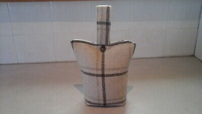 £5.99 • Buy  LOVELY SMALL FABRIC DOOR STOP Brown Tartan   With Button  Detail - FILLED