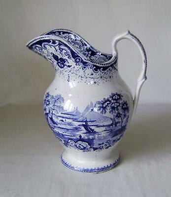 £30 • Buy Large Victorian Pottery Jug With Blue & White Prints Of An Exotic Landscape