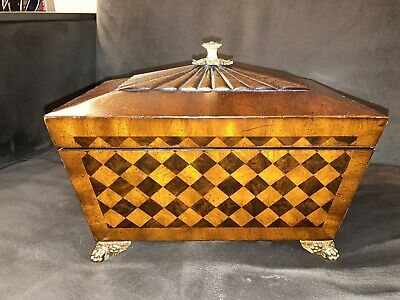 $299 • Buy Beautiful Maitland-Smith Inlaid & Carved Large Wood Box Lid W/ Gold Metal Feet
