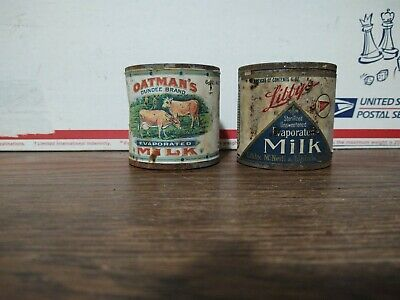 $9.99 • Buy Vintage Lot Of 2 Small Evaporated Milk Cans