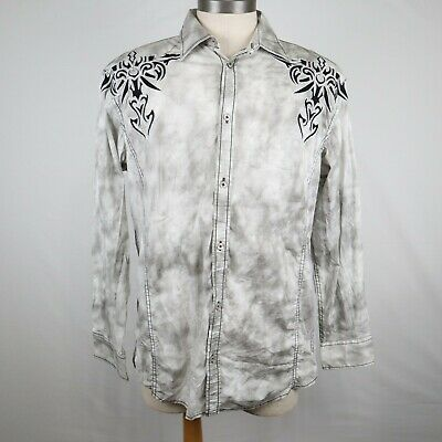 $9.99 • Buy Roar Men's Gray Embroidered Long Sleeve Button Up Shirt Size Large