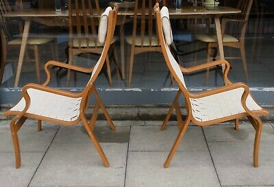 £550 • Buy A Pair Of Vintage Finn Ostergaard 1970s Danish Armchairs In Natural Beechwood