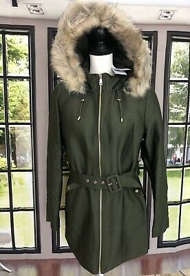 £36.02 • Buy MANGO Women's Faux Shearling-Lined Belted Parka Army Green Size Medium