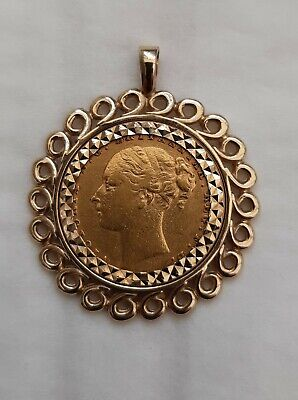 £400 • Buy A Rare 1876 Gold Sovereign Queen Victoria Young Head With 9ct Gold Pendant Mount