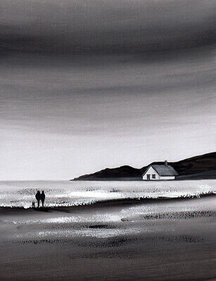 £12 • Buy WATERCOLOUR PAINTING SEASCAPE Walk By The Sea, Dog, Beach, Sarah Featherstone