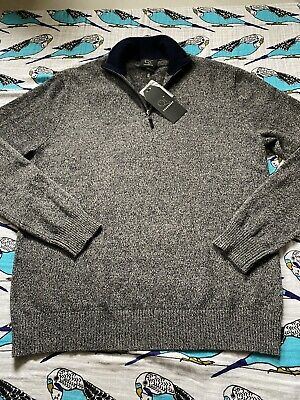 $49.50 • Buy Qi New York 100% Cashmere Sweater Gray 1/4 Zip Men's Large Pullover Soft