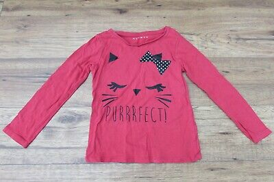 £1.95 • Buy Girl's Red T-shirt Cute Cat Face With Spotty Bow And PURRRFECT! Age 6-7 Years