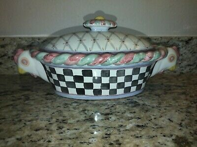 $100 • Buy MacKenzie Childs Piccadilly Covered Casserole Chicken Handles Lid 1996 Vtg