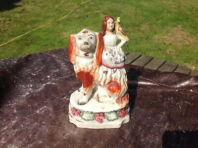 £24.99 • Buy Rare Old Staffordshire Figure Of  A Young Girl With Her Pet Bird Sat On Dog