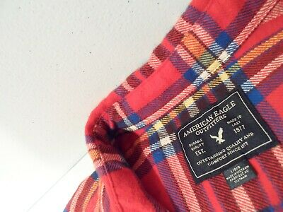 $8.50 • Buy American Eagle Mens Flannel Shirt Sz Large Soft Cotton Plaid Red Top W/ Pockets