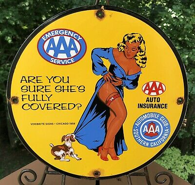 $ CDN12.43 • Buy Vintage 1958 Dated Aaa Emergency Automobile Club Porcelain Gas Oil Sign