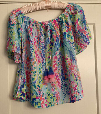 $34.99 • Buy Lilly Pulitzer Sain Off The Shoulder Top Catch The Wave - Sz S
