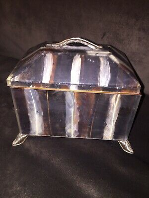$139 • Buy Beautiful Maitland-Smith Wood & Metal Box Decorated With Feathered Design & Legs