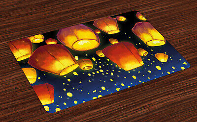 £14.99 • Buy Lantern Place Mats Set Of 4 Floating Fanoos Chinese